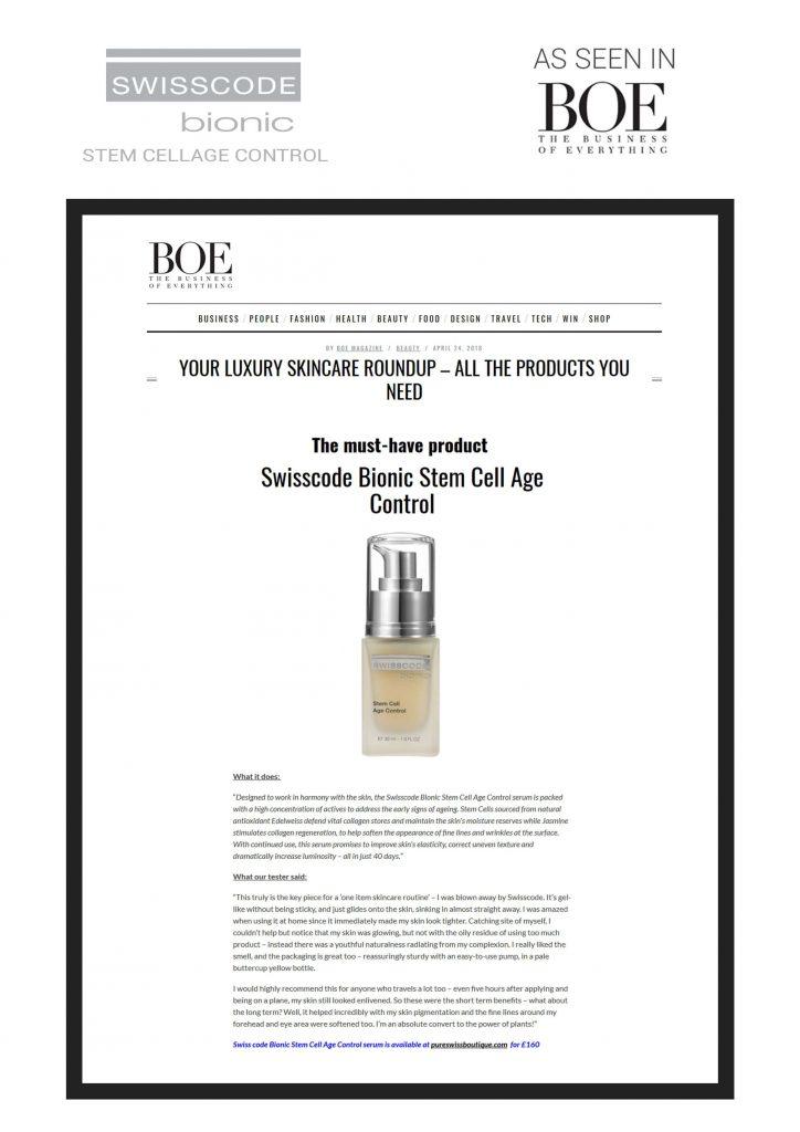 Boe Magazine - Swisscode Bionic Stem Celll age control