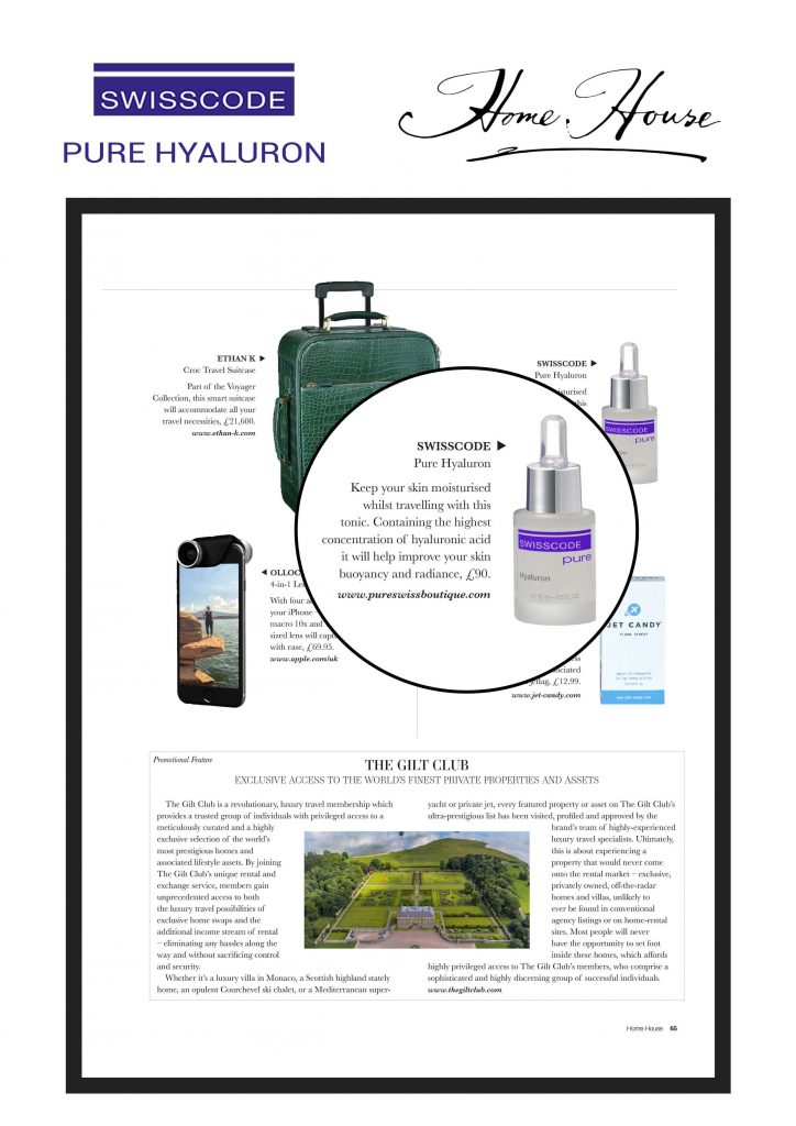 Home House magazine - Swisscode Pure Hyaluron