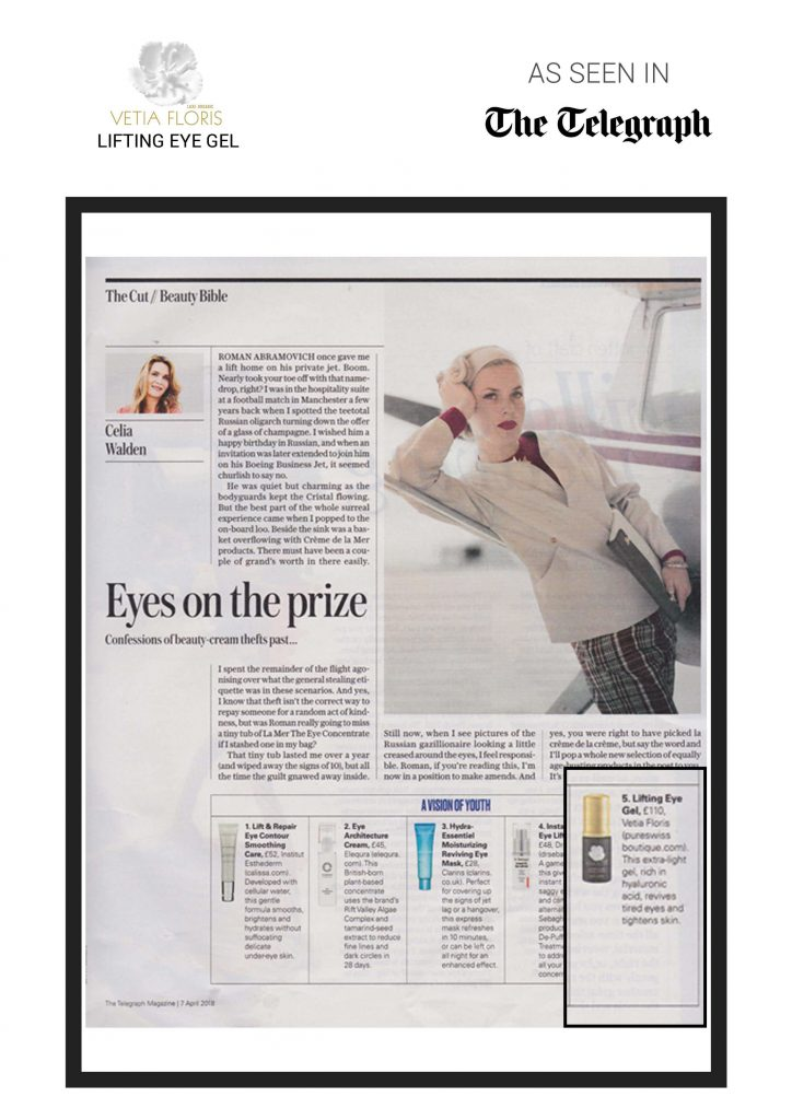 The Telegraph - Vetia Floris Lifting Eye Gel